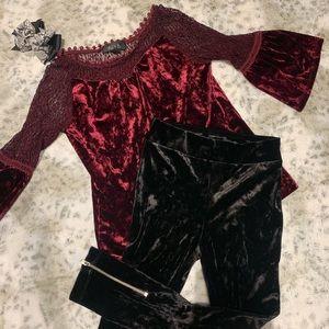 Little girls Velour top and legging set.